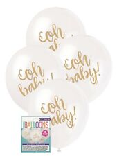 8 x Gold Oh Baby! Baby Shower Party White Balloons Decoration 30cm Helium Unisex