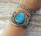 Vtg Old Pawn NAVAJO Redwater SPIDER WEB Turquoise STERLING SILVER Cuff Bracelet