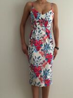 Women's Pink Blue Floral Sleeveless Bodycon Eve Races Cocktail Party Midi Dress