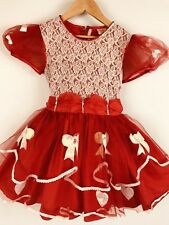 Vintage Girls Dress Party Dress Sheer Bows Ruffles Sequins Lace Full Circle 7