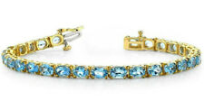 16.00 Ct Swiss Blue Topaz Womens Tennis Bracelet 14K Yellow Gold plated Silver