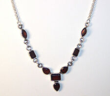 """NEW STERLING SILVER RECTANGLE, PEAR & MARQUISE SHAPE GARNET NECKLACE 16.25"""" LONG"""
