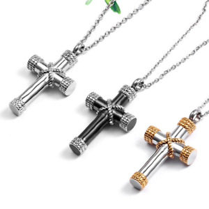 Classic Cremation Ashes Urn Pendant Necklace, Cross Shaped - UK Stock