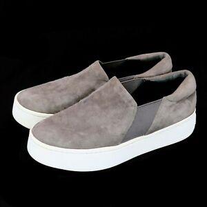 Vince Warren Slip On Platform Sneakers Shoes Steel Gray Suede Women's 7.5 | 37.5
