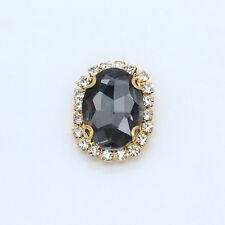15 10x14mm oval Sew On 4holes crystal cut glass Rhinstone Flatback buttons beads