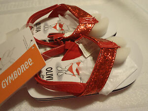 Gymboree Olivia Size  7 8 Choice Red Glitter Flip Flops Summer Sandals NWT