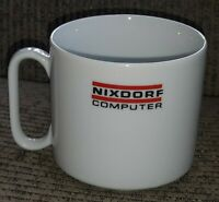 VTG NIXDORF COMPUTER EMPLOYEE PROMO COFFEE CUP WHITE MUG CERAMIC beverage drink