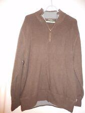 Eddie Bauer Size XXL 1/4 zip style Brown 100% cotton sweater w/ grey neck accent