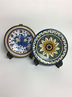 Pair of Ceramic Hand Painted Wall Hanging Plates made in Italy