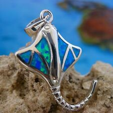 STERLING SILVER BLUE OPAL STING RAY PENDANT