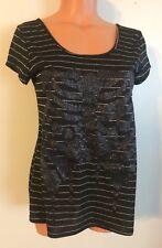 •• Women's Size Medium Hot Topic Blouse Black SS Goth Shirt Striped Nice!