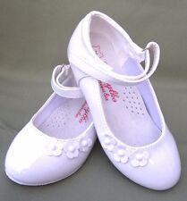 Nuevo Chicas plantillas de cuero blanco Tacones De Comunión Boda Fiesta Vestido Formal Zapatos