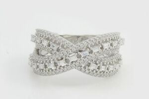 3/4 Ct Bagutte & Round Diamond 14k White Gold Criss Cross Engagement Ring -IGI-