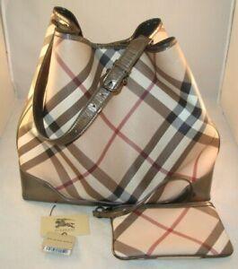 BURBERRY Nova Check Tote Bag Handbag Coated Canvas with small purse