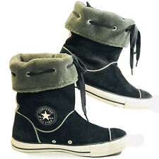 Converse CT All Star Women's 8 Fleece Lined Pull On Suede Ankle Boots Black EUC