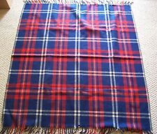 Vintage Horner Tartan Plaid Wool Blanket Throw Red Blue Cream Made In USA