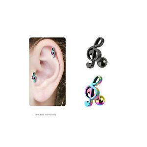 IP Treble Clef Music Note Cartilage Tragus Stud Earring