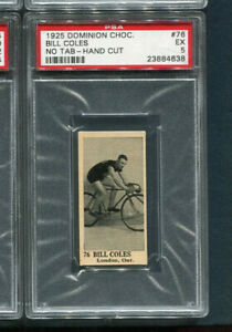 1925 Dominion Chocolate card #76 Bill Coles cycling PSA 5 EX no tab