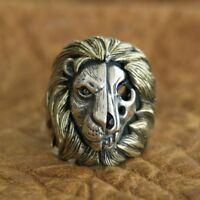 Brass Mane 925 Sterling Silver Skull Lion Ring Mens Biker Punk Ring TA115C N½~Z4