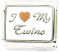 9mm Italian Charm I Love My Twins Kids Son Daughter Stainless Steel Modular Link