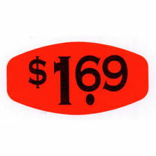 "Red $1.69 Price Point Grabber Grocery Store Labels Black Imprint - 1 3/8""L x"