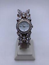 Vnt Lenox Butterfly Watch Sterling Silver 925 Crystal Rhinestones Mesh Band
