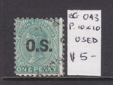 South Australia: 1d Green Qv Ov/Pr Os Perf 10 X 10 Sg O43 Used