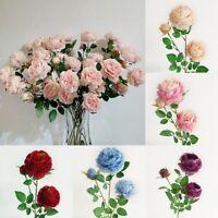 Flores artificiales de 3 cabezas Flores de seda ramo de peonia Ramo de O8C9