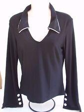 Ladies White House Black Market Flare Sleeved Blouse Pullover Floppy Collar SzS