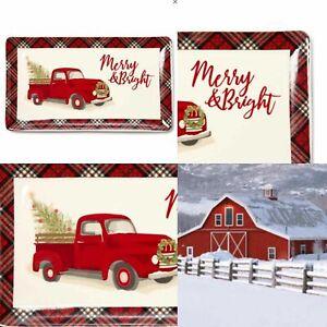"Red Pickup Truck Christmas Serving Platter Kitchen Farmhouse Plaid 14.5"" x 8"""
