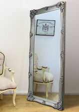 "Abbey Large Full Length Shabby Chic Vintage Leaner Wall Mirror Silver 65"" x 31"""
