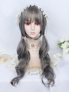 Sweet Japanese Cosplay Nature Gray Curly Hair Lolita Woman Party Wig Long