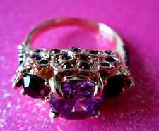 10 Kt Gold Filled Purple Cz Cocktail Ring Size 8 USA #16