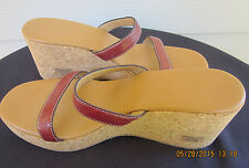 Women's J CREW Slides Sandals Cork Wedge Size 10 Brown Leather Straps Italy EUC