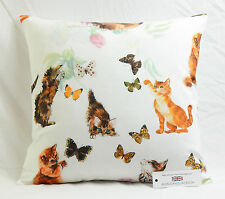 "CUSHION COVER 17""x17"" 43cm sq Cats Kittens & Butterflies 100% Cotton Panama"