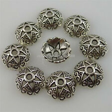 12258 150PCS Antique Silver Tone Alloy 8mm Heart Spacer Bead Caps End Caps