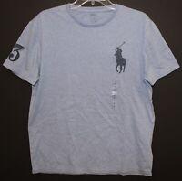 Polo Ralph Lauren Mens Blue Heather Big Polo Pony Crewneck T-Shirt NWT Size M