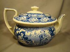 Spode Pearlware Woodman Pattern Blue & White Transfer Teapot c.1816