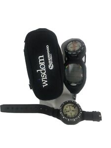 Sherwood Wisdom Dive Computer Console W/ Compass with bag wrist compass untested