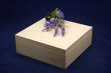 Caja de Almacenamiento de Madera Liso Perfecto Para Decoupage y otras artesanías (22.5x22.5x8)