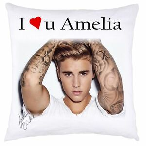 PERSONALISED CUSHION COVER JUSTIN BIEBER CHRISTMAS BIRTHDAY ANY OCCASION GIFT