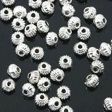 Silver tone wide lantern design spacer beads 80pcs EF0161