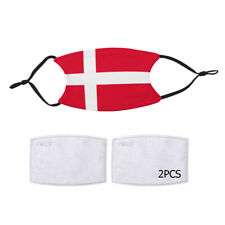 Reusable Face Mask 2 Filters Denmark Dane Flag Country Pride Patriotic National