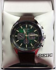 SEIKO Men's RECRAFT Series Green Dial Solar Chronograph WATCH SSC513