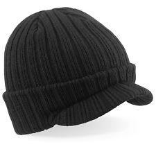 Doble Capa Tacto Suave Negro Acrílico Gorro con Visera Esquí Cálido Sombrero+