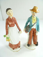 Porcelain Figurines UCGC Old Man and Old Woman Farmers Hand Painted
