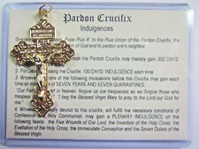 "Pardon Crucifix Cross Gold Plated 2 1/4"" Italy Indulgences Card & Gift Box"