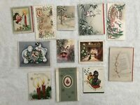 Vintage Christmas Cards Dog Candles Birds Lot Of 12 Used