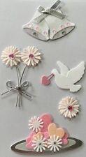 PINK WEDDING BELLS & DOVE Dimensional Stickers(5pc)Sandylion •Wedding•Flowers••