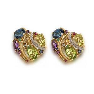 14k Yellow Gold Blue Topaz, Peridot, Citrine, Amethyst & Diamond Heart Earrings